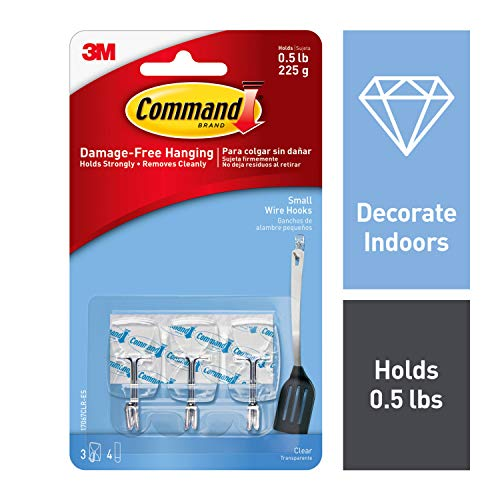 Command Wire Hooks, Small, Clear, 3-Hook, 6-Pack