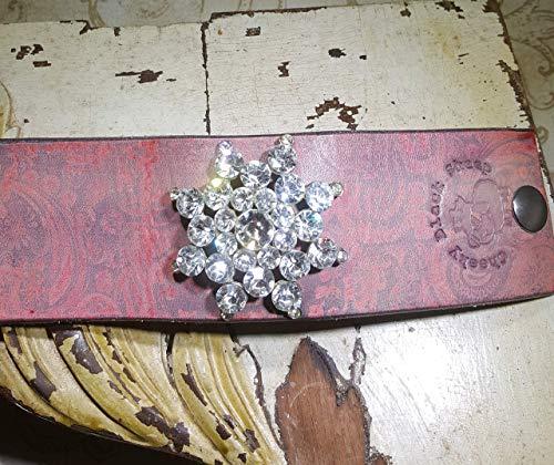Vintage Swarovski Crystal 8 point Star with Stunning Swarvoski ROUND crystal stones on handcrafted leather.