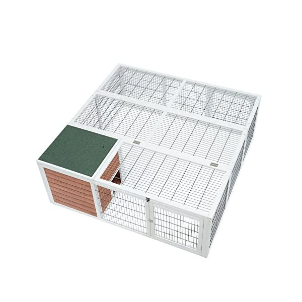 "PawHut 64"" Wooden Outdoor Rabbit Hutch Playpen with Run and Enclosed Cover 1"