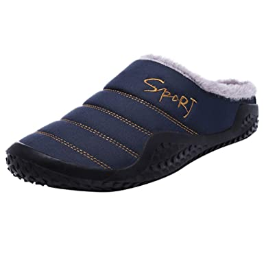 NUWFOR Fashion Leisure Men Indoor Keep Warm Shoe Flat Platform Household Cotton Slipper(Blue,