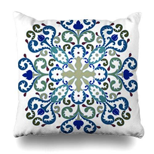Turkish Carpet Designs - YeaSHARK Throw Pillow Covers Art Circle Floral Medallion Pattern Abstract Arabesque Arabic Asian Carpet East Turkish Zippered Design Square 20