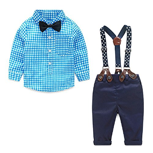 Yilaku Toddler Boys Outfits Suit Infant Clothing Newborn Baby Boy Clothes Sets Gentleman Plaid Top+Bow Tie+Suspender Pants (6-9 Months, Blue) -