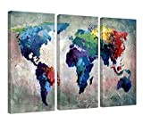 living room color ideas Ardemy Canvas Wall Art Watercolor Map of The World Abstract Colorful Vintage Painting Pictures, Large 3 Panels Artwork Framed Ready to Hang for Living Room Bedroom Meeting Room Home Office Decor