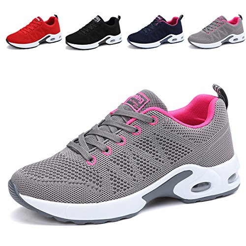 JARLIF Women's Breathable Fashion Walking Sneakers Lightweight Athletic Tennis Running Shoes (6 B(M), Gray)