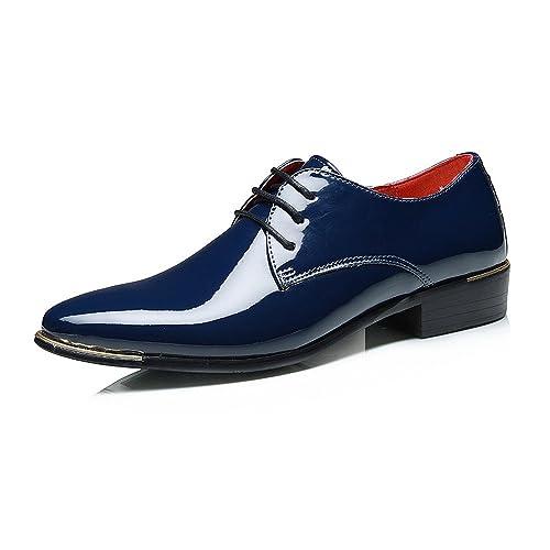Sunny&Baby Zapatos de Charol de PU de los Hombres con Cordones Mocasines del Smoking Bloque del