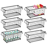 mDesign Household Stackable Metal Wire Storage Organizer Bin Basket with Built-In Handles for Kitchen Cabinets, Pantry, Closets, Bedrooms, Bathrooms - 12.5' Wide, 6 Pack - Graphite Gray