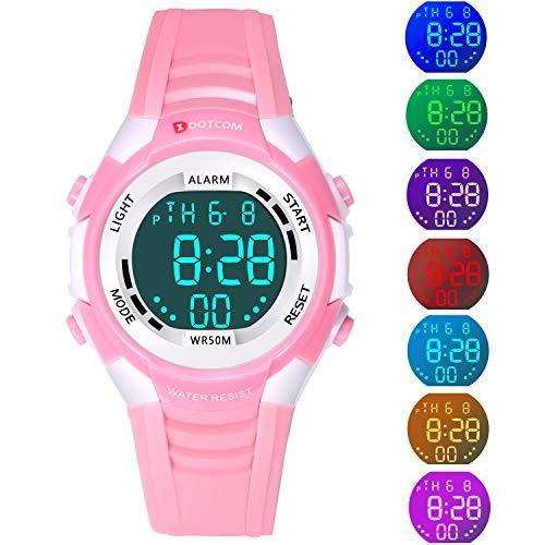 Kids Digital LED Electronic Analog Quartz Watch 7-Color Lights Multifunction 50M Waterproof Sports Watch Boys and Girls(Pink)