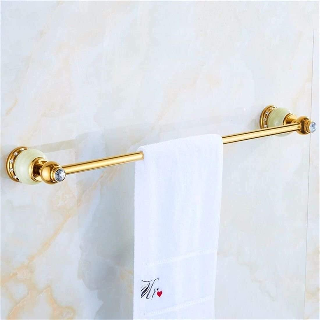 Anillo de toalla Portarrollos de toalla del doble del estante Latón Jade Diamond Decoración del tejido cesta montado en la pared de baño Jabón de accesorios Holder Toallero