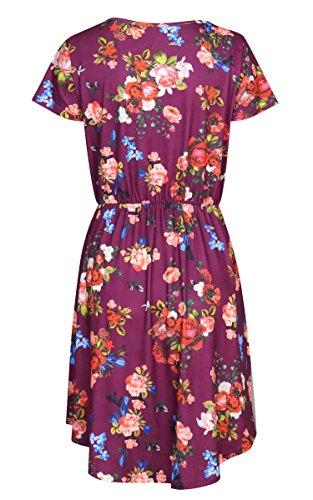 Ecowish Femmes Robes Été Floral Manches Courtes Élastique Robe Midi Rétro Vintage Taille Avec Des Poches Rouges