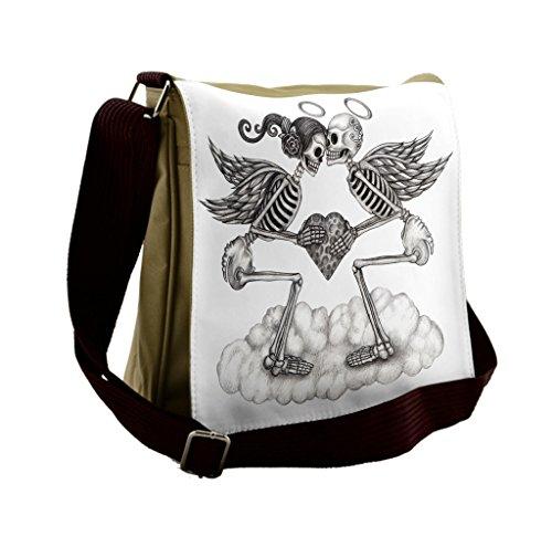 Lunarable Mexican Messenger Bag, Skull Cupids Wedding Theme, Unisex Cross-body by Lunarable