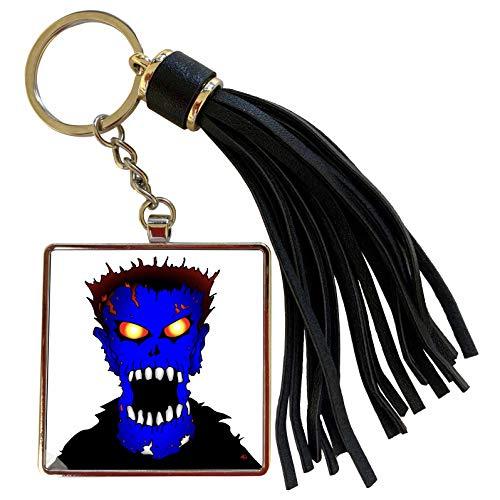 3dRose Mark Grace ZOMBIE SURVIVORS Zombies - ZOMBIES blue zombie 1 on transparent - Tassel Key Chain (tkc_25568_1)