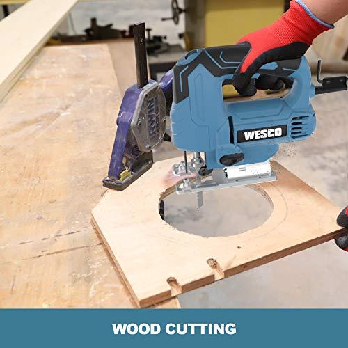 Jigsaw, WESCO 4.5 Amp Electric Jig Saw 0-3000 SPM Variable Speed, 4 Orbital Sets, ±45°Bevel Cutting Angle,Adjustable Aluminum Base, 10PCS Blades for Metal PVC Ceramic Wood Cutting/WS3770U