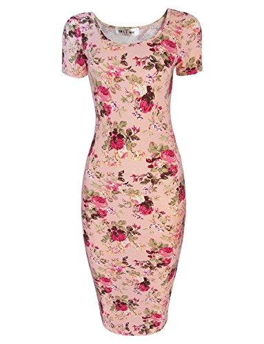 Tom's Ware Women's Sweetheart Short Sleeve Midi Dress TWCWD053-PINK-US - Dress Heart Pink
