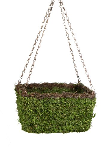 Super Moss 29212 MossWeave Hanging Basket  Square Fresh Green with Wicker Rim Small 105quot Diameter