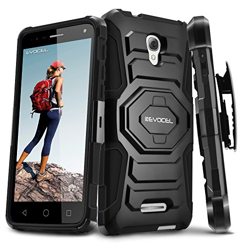 Alcatel OneTouch Fierce 4 Case, Evocel [New Generation Series] Belt Clip Holster, Kickstand, Dual Layer for Alcatel OneTouch Fierce 4, POP 4+ 5.5 inch, OneTouch Allura (5056), Black (Alcatel One Touch Fierce Prepaid Cell Phone)