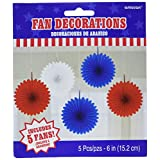 Red White and Blue Fourth of July Party Hanging Fan Decoration, paper, 6