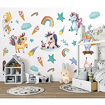 Rainbow Wall Decal, H2MTOOL 2 Sheets Removable Animal Unicorn Wall Stickers for Girls Boys Kids Nursery Rooms Decor (Rainbow Unicorn): Arts, Crafts & Sewing