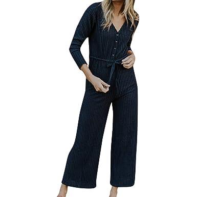 80d32e105f63 Amazon.com  TIMEMEANS Jumpsuit Womens Long Sleeve Jumper V Neck Button   Clothing