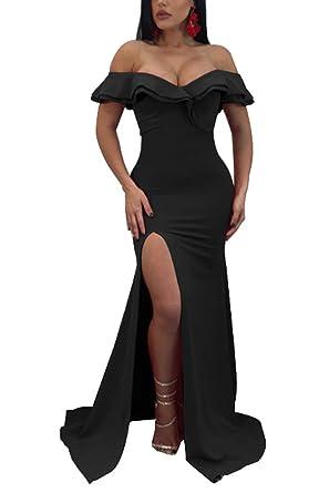 Mupoduvos Women Maxi Dress Elegant Off The Shoulder Bodycon Cocktail Dresses  Black S 467fd64dd