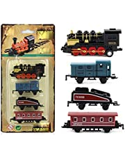 LSXLSD Alloy Die- Casting Toy Car Vehicle Retro Steam Train Pull Back Train Model Toy Vehicles Children' s Toy Set for Boys Gifts (Color : 04)