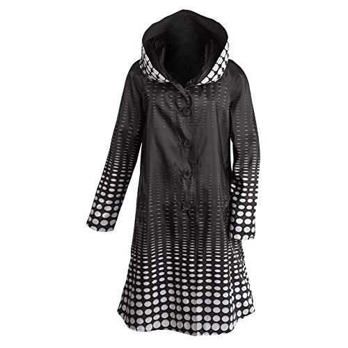 Women's Reversible Illusion Black And White Hooded Long Raincoat - Large