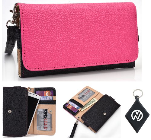Motorola DROID RAZR MAXX HD Wallet Wristlet Clutch with Coin Money Zipper Pocket and Three ID Credit Card Compartments. Includes one Detachable Wrist Strap. Color: Magenta / Black + NuVur ™ Keychain (ESMLMTKM)