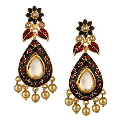 (Efulgenz Indian Bollywood 14K Gold Plated Crystal Kundan Pearl Leaf Floral Chandelier Dangle Earrings Jewelry Set)