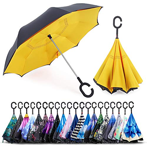 ZOMAKE Double Layer Inverted Umbrella Cars Reverse Umbrella, UV Protection Windproof Large Straight Umbrella for Car Rain Outdoor With C-Shaped Handle(Yellow)