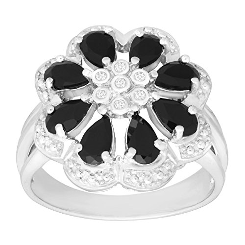 7/8 ct Natural Onyx Flower Ring with Diamonds in Sterling Silver Size 7 (Seven Diamond Flower Ring)