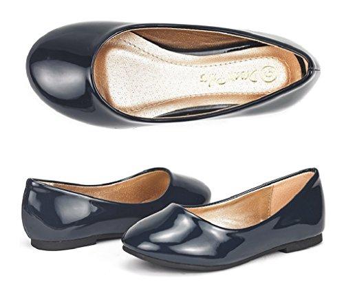 DREAM PAIRS Little Kid Muy Navy Pat Girl's Mary Jane Ballerina Flat Shoes - 3 M US Little Kid - Navy Kid Leather