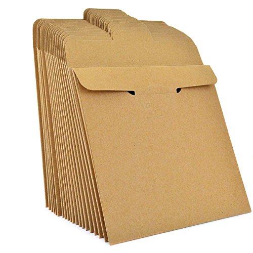 100 Pack Kraft Paper CD Sleeves, Ishua Retro DVD Envelopes 5'' x 5''(12.8 x 12.8 cm) Blank CD Paper Cardboard CD Paper Storage Holder Covers CD Packaging Bags Box Media -