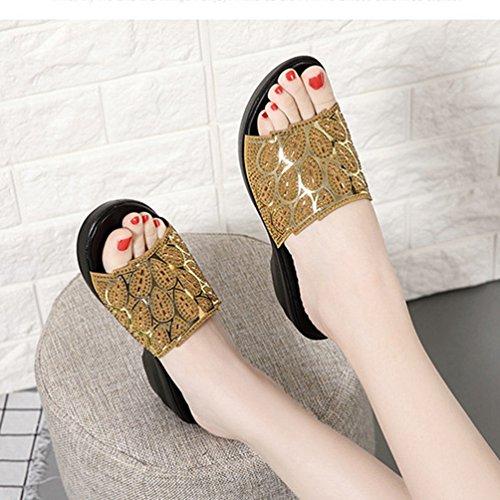 Dérapant Sandales Strass de Plate Glissière Bas Robe Or Les de Anti Femmes Cales Scintillante Confort de Forme Noir Sandales pour qwx17rFqI