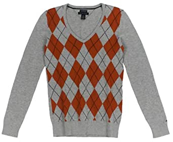 Tommy Hilfiger Women's Pima Cotton Argyle V-neck Sweater (Small, Lt Grey Heather)