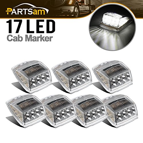 Partsam 7 x White 17 LED Reflector Roof Top Clearance Marker Lights for Heavy Duty Trucks Volvo Paccar Mack Peterbilt Kenworth Freightliner Western Star