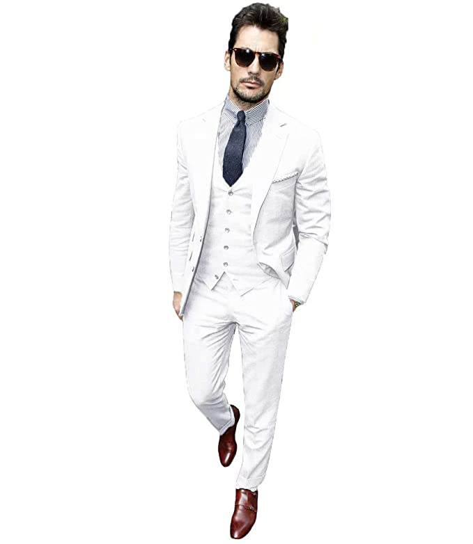3adb24811e8d Jingmo Single Breasted Party Blazer Vest Pants Set Formal 3 Piece Suits for  Men at Amazon Men's Clothing store: