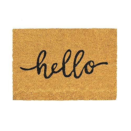 - Nicola Spring Hello Design Non-Slip Coir Door Mat, 40 x 60 cm - PVC Backed Welcome Mats Doormats