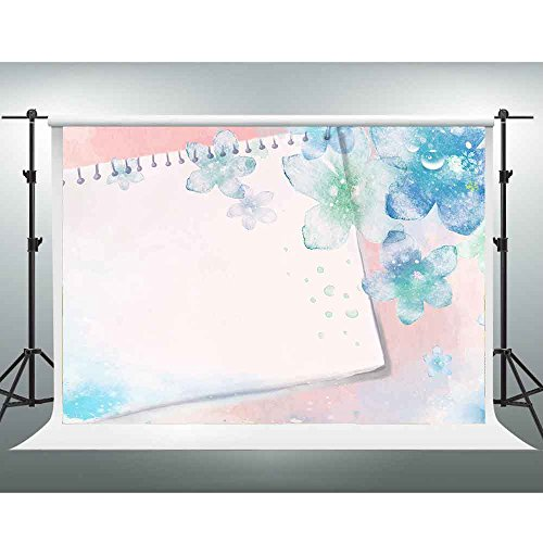 GESEN 7X5ft Simple Elegant Backdrop Light Blue Flowers Postcard Best Wishes Theme Party Photography Background Photo Shooting Props GORGE110