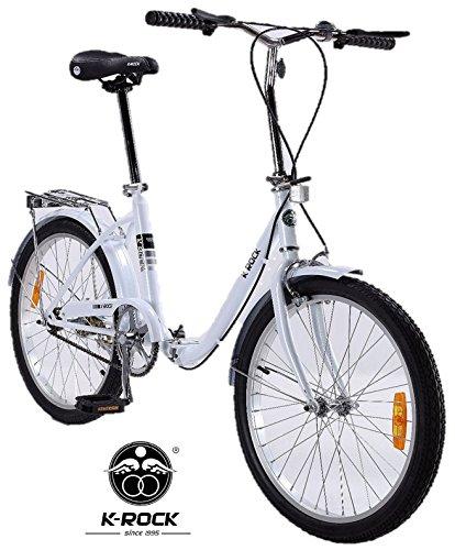 Bicicleta Plegable Ultra Ligera Krock Retro Vintage R22 Velocidades Shimano Color Blan