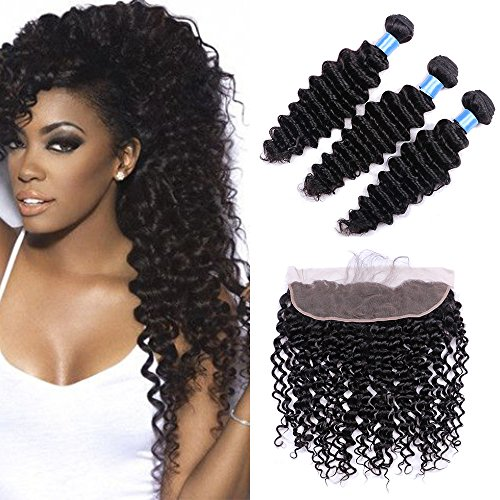 Ucrown hair Deep Wave 3 Bundles with Frontal Ear to Ear Lace Frontal Closure with Bundles Brazilian Virgin Hair with Closure Human Hair Extensions( 18 20 22+16inch) by Ucrown hair