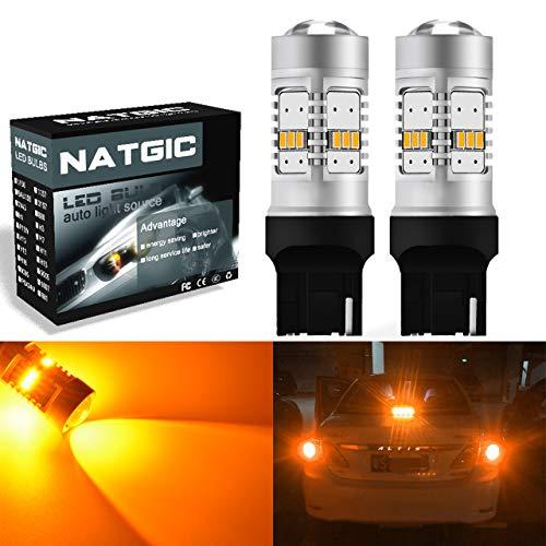 NGCAT 1800 Lumens 14 SMD 3020 CREE 7440 7444NA 7443 7440NA 7441 992 LED Bulbs for Cars Turn Signal Bulbs Tail Brake Stop Lights,DC 10-16V Amber(2-Pack)
