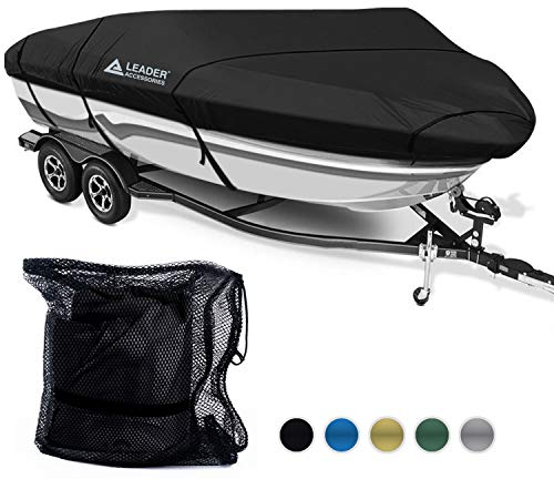 (Leader Accessories 600D Polyester 5 Colors Waterproof Trailerable Runabout Boat Cover Fit V-Hull Tri-Hull Fishing Ski Pro-Style Bass Boats,Full Size (17'-19'L Beam Width up to 96'',)