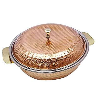 PARIJAT HANDICRAFT Indian Serveware Donga Copper Serving Bowl Tureen With Spoon