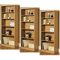 3-Adjustable Shelves | Orion Wide 5-Shelf Bookcase | 2 Fixed Shelves (Oak,3)