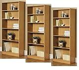 3-Adjustable Shelves | Orion Wide 5-Shelf Bookcase | 2 Fixed Shelves (Oak,3)