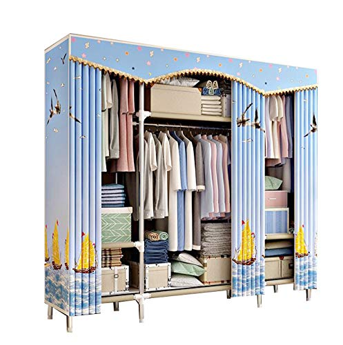 Cotton Armoire (HMEIGUI Clothes Closet Portable Armoire Wardrobe - Nylon Polyester Cotton Cloth Closet Organization Systems, Steel Tube Quick and Easy to Assemble,Sailboat_66x67inch)