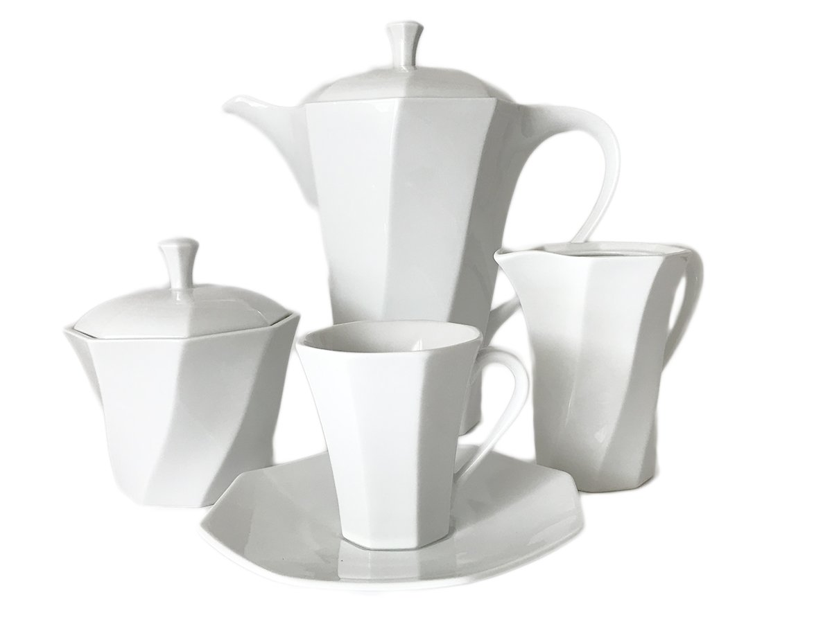 Porcelain Coffee Set For 6 Persons White Bormio with Octagon Design Czech Made