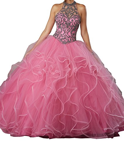 New Gown Quinceanera (MFandy New Women High Neck Ball Gowns Girls Beads Quinceanera Dresses 0 US Hot Pink)