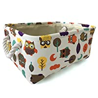 Rectangular Storage Basket Collapse Canvas Fabric Cartoon Storage Bin with Handles for Organizing Home/Kitchen/Kids Toy/Office/Closet/Shelf Baskets