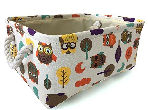 Rectangular Storage Basket Collapse Canvas Fabric Cartoon Storage Cube Bin With Handles for Organizing Home/Kitchen/Kids Toy/Office/ Closet/Shelf Baskets(Owl)