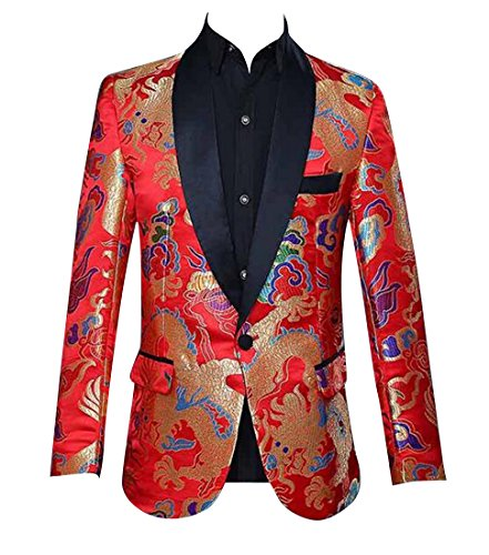 - Fensajomon Men's Tuxedo Jacket Dance Prom Dragon Print 1 Button Slim Blazer Jacket Coat Red M